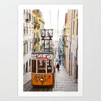 Lisbon summer day and vintage tram urban city street photography Art Print