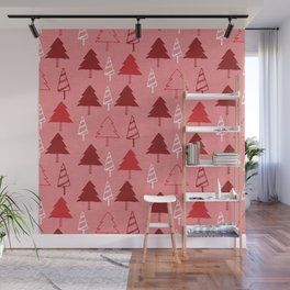 Christmas Tree Red and Pink Wall Mural