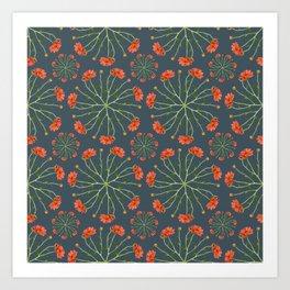 Coral Mum Floral Pattern - Realistic Flowers - Chrysanthemum Bloom Pattern Art Print