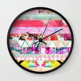 Pastel Abstract Floral Aztec Stripes Girly Pattern Wall Clock