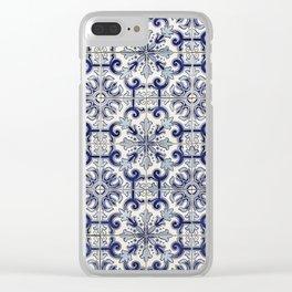 Portuguese tiles pattern blue Clear iPhone Case