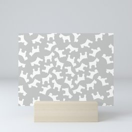Silver Schnauzers - Simple Dog Silhouettes Pattern Mini Art Print