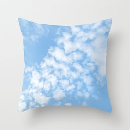 Summer Sky with fluffy clouds Throw Pillow