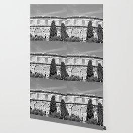 arena amphitheatre pula croatia ancient black white Wallpaper