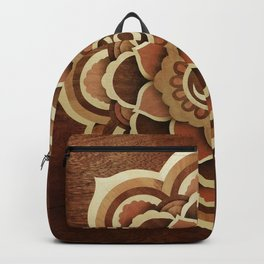 Patience and lucky of harmony mandala wood marquetry Backpack