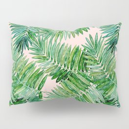 Green palm leaves on a light pink background. Pillow Sham