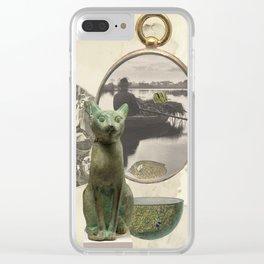 Green Cat Clear iPhone Case