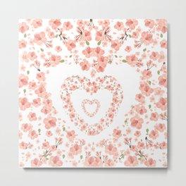 Modern coral pink watercolor valentine's hearts floral Metal Print