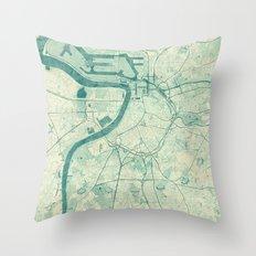 Antwerp Map Blue Vintage Throw Pillow