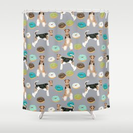 Wire Fox Terrier donuts dog pattern dog lover gifts for dog person dog breeds pet friendly Shower Curtain