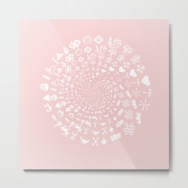 Rose Quartz Love Symbols Mandala Metal Print
