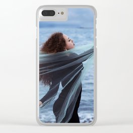 Woman on the sea Clear iPhone Case