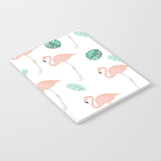 Hand painted pastel  pink flamingo tropical leaf watercolor pattern Notebook
