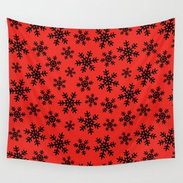 Hanukkah and Christmas Snowflake Pattern on Bright Blue Wall Tapestry