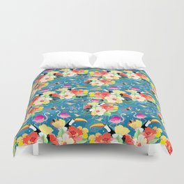 bright seamless tropical pattern with flowers and birds on a blue background Duvet Cover
