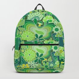 Groovy Mushroom Garden in Avocado Green Backpack