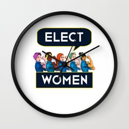 Elect Women Statement Quote Group product Rosie Riveter Wall Clock
