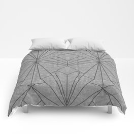 Art Deco in Black & Grey - Large Scale Comforters
