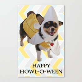 "Corgi Dog in Banana Suit ""Howl-O-Ween"" Canvas Print"