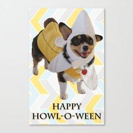 "Corgi Dog in Banana Suit ""Howl-O-Ween"" Canvas Print"
