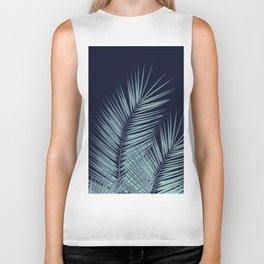 Navy Blue Palm Leaves Dream - Cali Summer Vibes #1 #tropical #decor #art #society6 Biker Tank