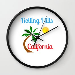 Rolling Hills California Palm Tree and Sun Wall Clock