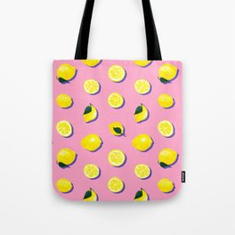 Pink Lemon ~ 80's Pattern Tote Bag