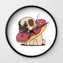 Puggy donuts Wall Clock