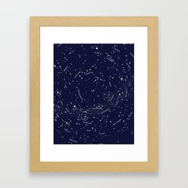 Constellation Map - Indigo Framed Art Print