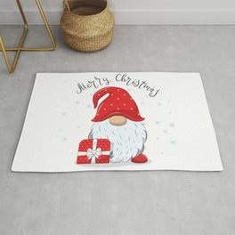 Cute Cheerful Gnome With Phrase Merry Christmas Rug