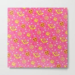 Sailor Moon Brooches Pattern - Pink / Sailor Moon Metal Print