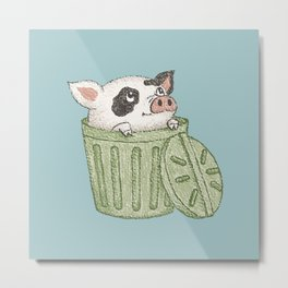 Spotted pig in a bucket Metal Print