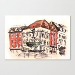 Market square in Aachen Canvas Print