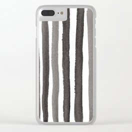 Grey Stripe Abstract Painting Clear iPhone Case