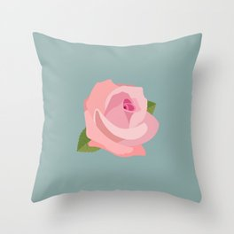 Pink Rose Illustration on Teal Throw Pillow