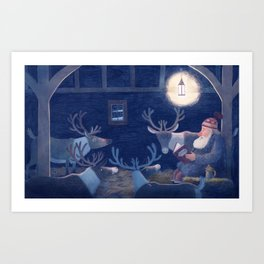 Goodnight reindeer Art Print