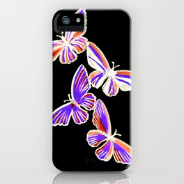 butterfly pattern, with purple and orange, purple butterfly drawing iPhone Case