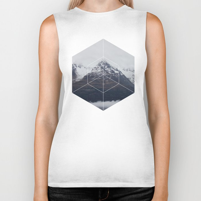 Snow Mountain - Geometric Photography Biker Tank
