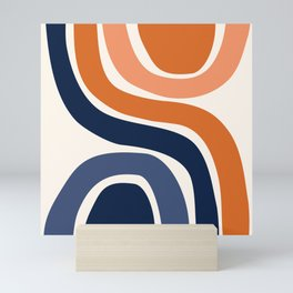 Abstract Shapes 29 in Burnt Orange and Navy Blue Mini Art Print