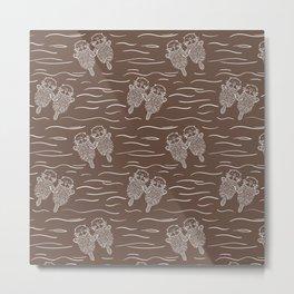Sea Otters on Taupe Metal Print