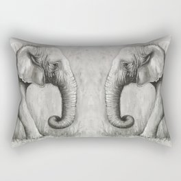 Elephant Black and White Watercolor Rectangular Pillow