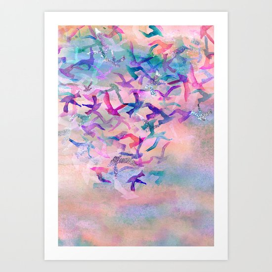 Birds Flight Home  Art Print