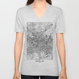Berlin White Map Unisex V-Neck