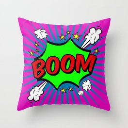 Boom Pink Boom Throw Pillow