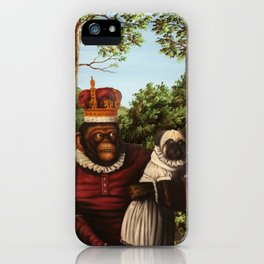 Monkey Queen with Pug Baby iPhone Case