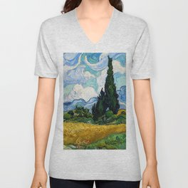 Vincent Van Gogh - Wheat Field with Cypresses Unisex V-Neck