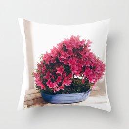 Pink flowered bonsai  Throw Pillow