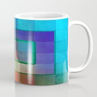 aperture Mugs featuring Aperture #2 Fractal Pleat Texture Colorful Design by CAP Artwork & Design
