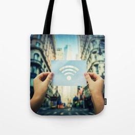 holding wifi symbol Tote Bag