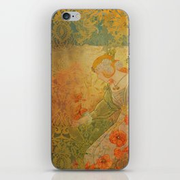 Poppies Deluxe:  Art Nouveau poppy- woman picking bouquet- scarlet & gold damask - ornate - wo iPhone Skin